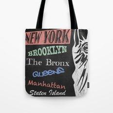 New York Boroughs Tourism Poster Tote Bag
