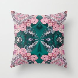 Mandala Mini-Print on Emerald Green Silk Throw Pillow