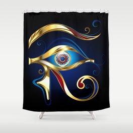 Gold Eye of Horus Shower Curtain