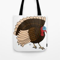thanksgiving Tote Bags featuring Thanksgiving Turkey by Yatasi