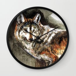 Totem Mexican Wolf ( Watercolor ) Wall Clock