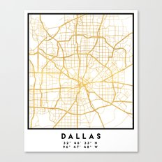 DALLAS TEXAS CITY STREET MAP ART Canvas Print