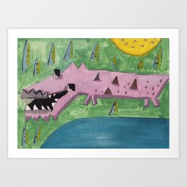 Squareland -squocodrile Art Print