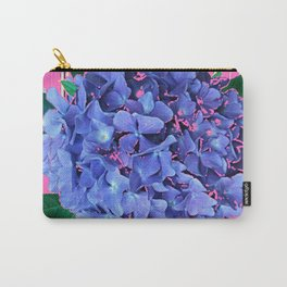 BLUE ABSTRACTED HYDRANGEA YELLOW-PINK Carry-All Pouch