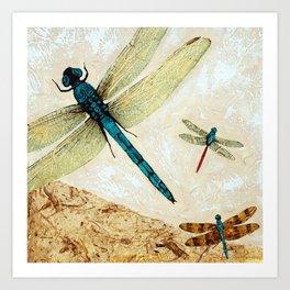 Zen Flight - Dragonfly Art By Sharon Cummings Art Print