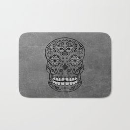 Dark gothic silver grey sugar skull Bath Mat