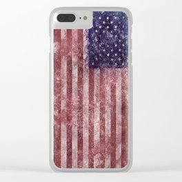 US Flag vintage worn out Clear iPhone Case