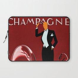 Vintage Champagne Red Veuve A. Devaux, Paris, France Jazz Age Roaring Twenties Advertisement Poster Laptop Sleeve