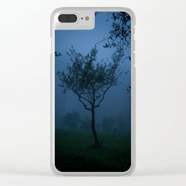 An olive tree in the fog Clear iPhone Case