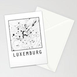 Luxemburg, Luxemburg, city map, Black on White design Stationery Cards