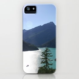 Turquoise Lake Surrounded By Mountains iPhone Case