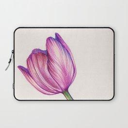 Purple Tulip in Colored Pencil Laptop Sleeve