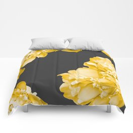 Yellow Flowers On A Dark Background #decor #society #homedecor Comforters