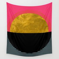 georgiana paraschiv Wall Tapestries featuring Abstract Sunset by Georgiana Paraschiv