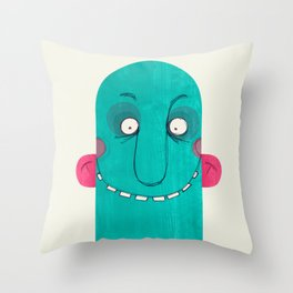 Blue Cupface Throw Pillow