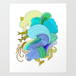 Waves & Fishes Art Print