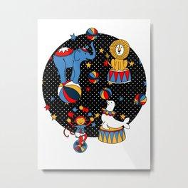Little Circus Stars on Black Metal Print