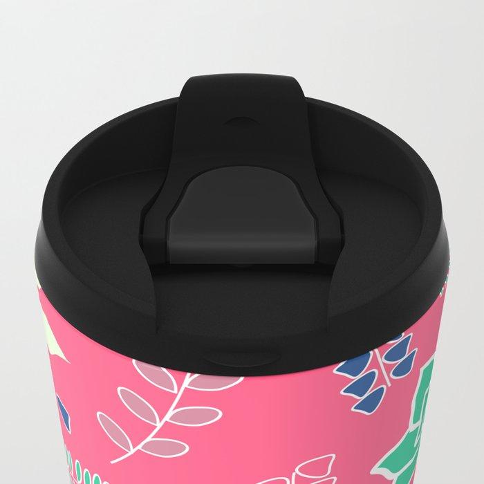 Floral ornament in pink Metal Travel Mug