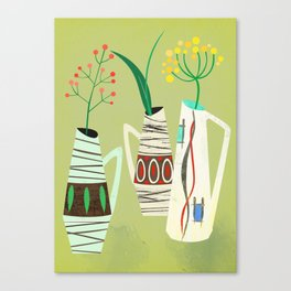 Three mid century vases Canvas Print