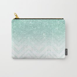 Faux teal glitter ombre modern chevron pattern Carry-All Pouch