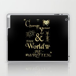 Change Your Mind & Your World Will Be Re-Written Black & Gold Laptop & iPad Skin