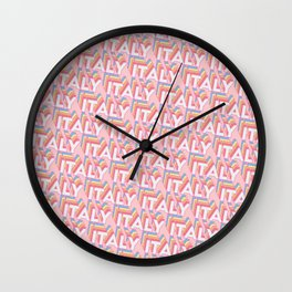 Italy Trendy Rainbow Text Pattern (Pink) Wall Clock