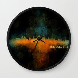 Kansas City Skyline UHq v4 Wall Clock