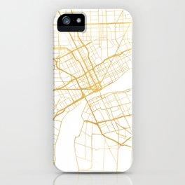 DETROIT MICHIGAN CITY STREET MAP ART iPhone Case