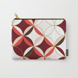 Floral Circle Pattern Inspired by Mid Century Modern Design: Red Pink and Gold Foil Carry-All Pouch
