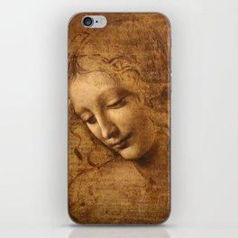 Head of a Woman Painting by Leonardo da Vinci iPhone Skin