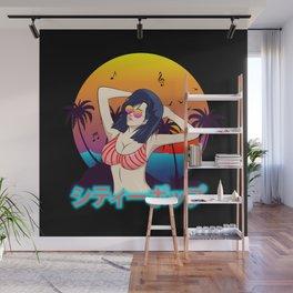 Retro Japanese Summer City Pop Wall Mural