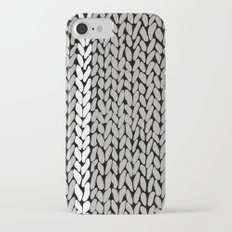 Grey Knit With White Stripe iPhone 7 Slim Case