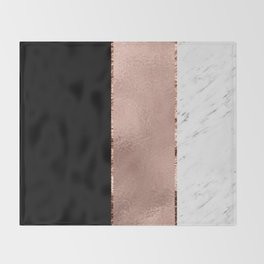 Rose metallic striping - marble and onyx Throw Blanket
