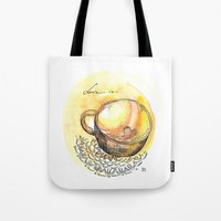 coffe Tote Bags featuring coffe love by Olga Chekalkina