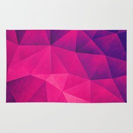 Abstract Polygon Multi Color Cubizm Painting in deep pink/purple  Rug
