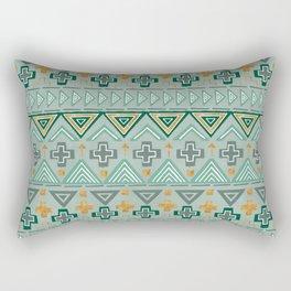 Bohemian Aztek pattern in Gold & Green Rectangular Pillow
