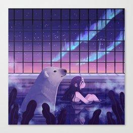 Bathing under Northern Lights Canvas Print