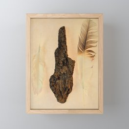 FEATHER PHOTOGRAPHY, FEATHER AND FOSSILIZED WOOD, NATURE STILL LIFE, BIRD FEATHER PRINT - WARM Framed Mini Art Print