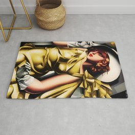Girl in a Yellow Dress Art Deco Haute Couture portriat painting Tamara de Lempicka Rug