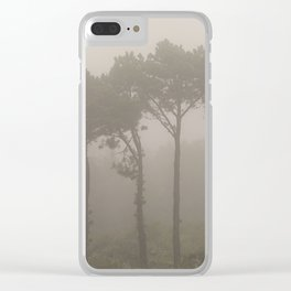Four Pine Trees in the Fog Clear iPhone Case
