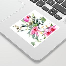 Hibiscus and Hummingbird, Hawaiian Aloha, birds and flowers design Sticker