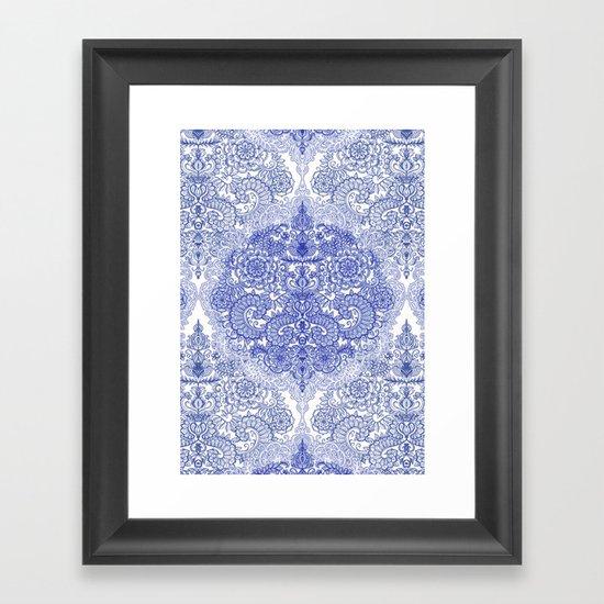 Happy Place Doodle in Cornflower Blue, White & Grey Framed Art Print