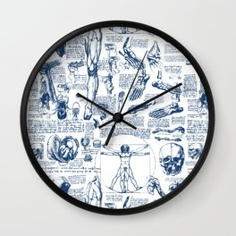 Da Vinci's Anatomy Sketchbook // Dark Blue Wall Clock
