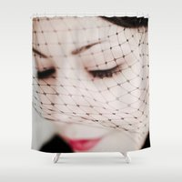 no face Shower Curtains featuring Face by Sushibird