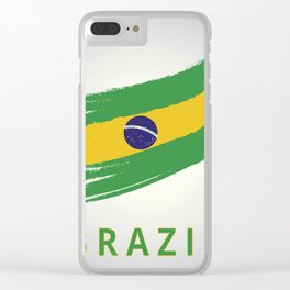Abstract Brazil Flag Design Clear iPhone Case