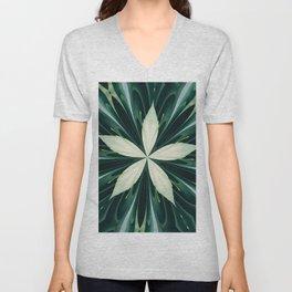 White Leaves In A Green Forest Kaleidoscope Unisex V-Neck
