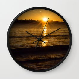 New Zealand sunrise over water Wall Clock