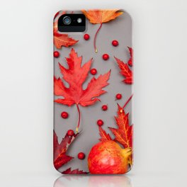 Autumn background with pomegranates and red leaves iPhone Case
