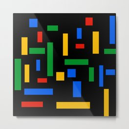Abstract Google Art Red Green Blue Yellow on Black Metal Print