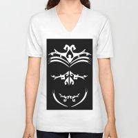 maori V-neck T-shirts featuring Maori skull black & white  by Soso Creation